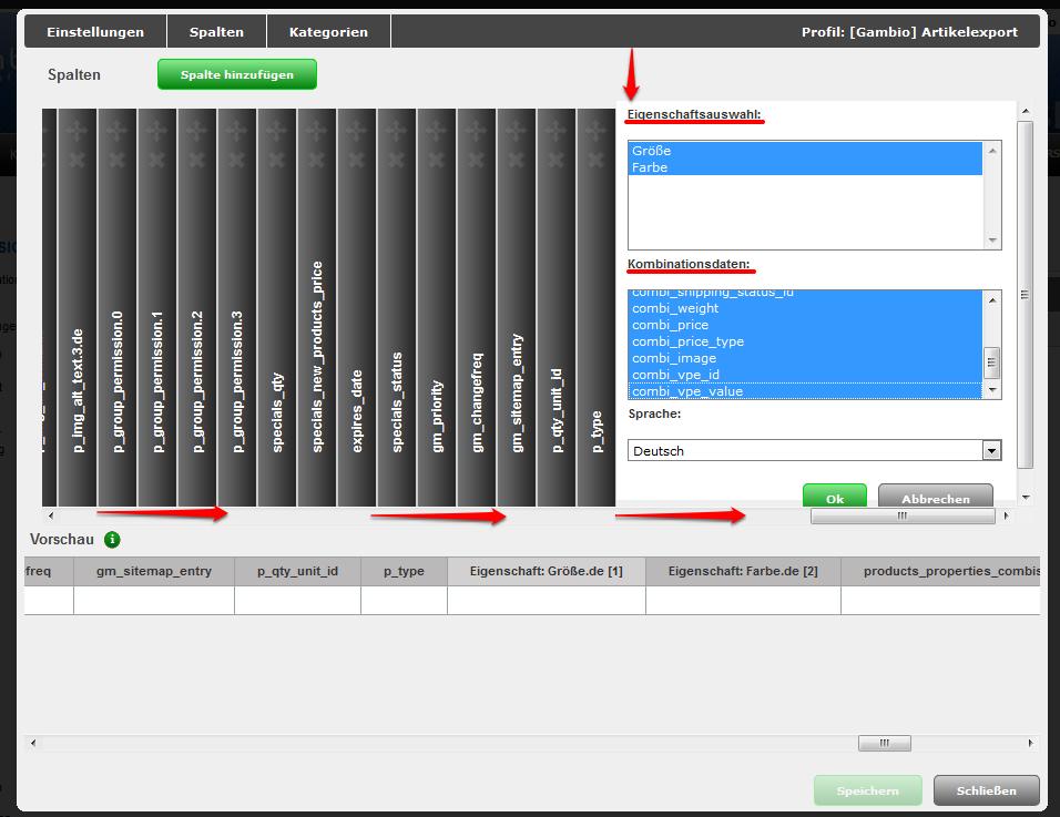 CSV Datei Spalten Eigenschaften exportieren Profil bearbeiten Spalten Bearbeiten Spaltenname Spalteninhalt