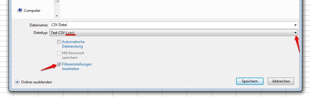 CSV Import Export Tabellen-Kalkulationsprogramm .csv  Filtereinstellungen utf-8 Trennzeichen Texttrenner
