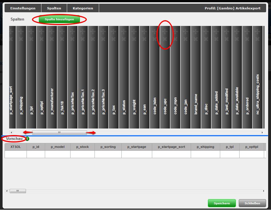 CSV Datei Profil bearbeiten Spalten Bearbeiten Spaltenname Spalteninhalt Standardwert