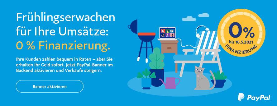 PayPal Banner Frühlingserwachen für Ihre Umsätze 0 Prozent Finanzierung Gambio Partner