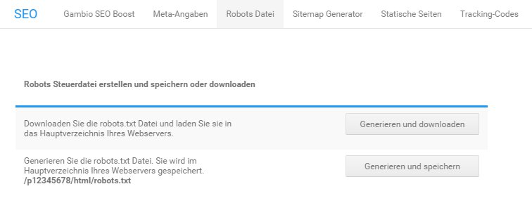 Robots Datei im Gambio Shop erstellen - SEO-Update