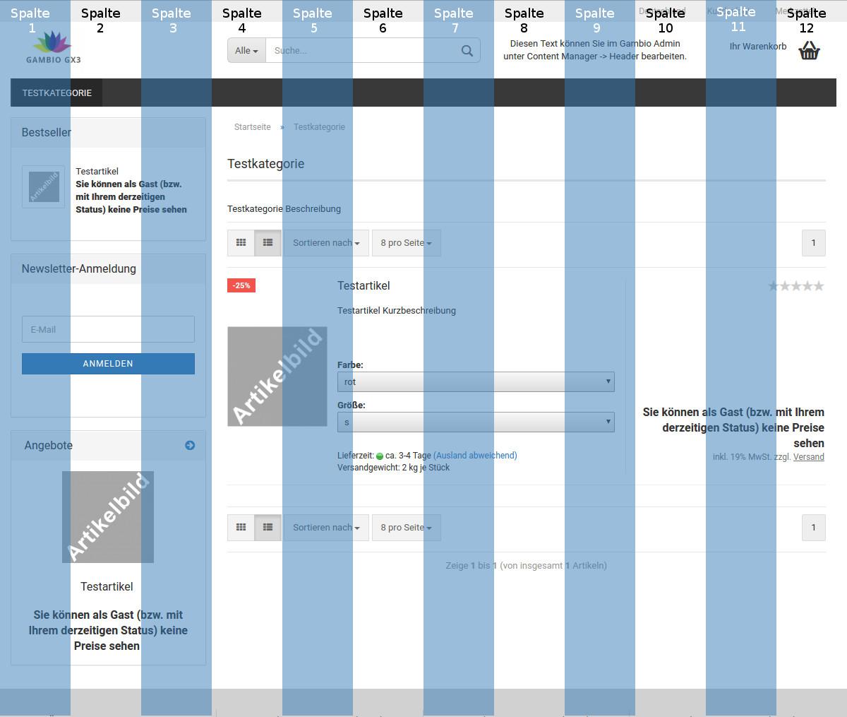 Gambio StyleEdit 3 Grid-System: Aktivierte linke Spalte